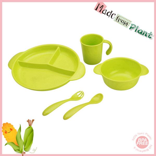 5pcs green safey plastic new arrival dinnerware set
